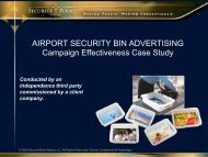 AIRPORT SECURITY BIN ADVERTISING Campaign Effectiveness ...