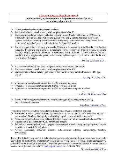 Původní témata bakalářských prací v pdf souboru (seznam témat v ...