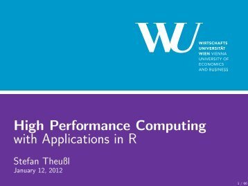 High Performance Computing with Applications in R - Institute for ...