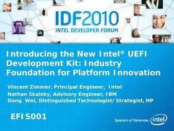 Introducing the New Intel® UEFI Development Kit: Industry ...