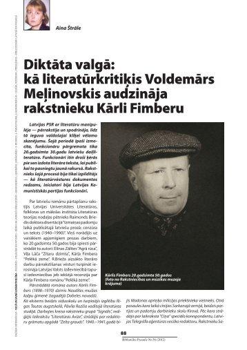 Diktāta valgā: kā literatūrkritiķis Voldemārs Meļinovskis ... - Academia
