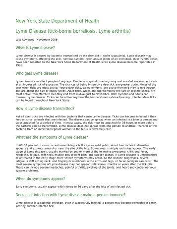 Lyme Disease (tick-borne borreliosis, Lyme ... - Schoharie County