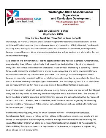 How Do You Treat the 'New Kid' in Your School? - wsascd