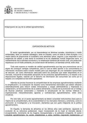 MINISTERIO DE MEDIO AMBIENTE, Y MEDIO RURAL Y MARINO ...
