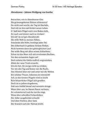 Johann Wolfgang von Goethe Betrachtet, wie in Abendsonne-‐Glut ...