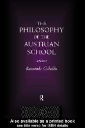 The philosophy of the Austrian School/Raimondo Cubeddu