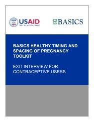 Exit Interview for Contraceptive Users for Healthy Timing ... - basics