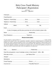 Youth Ministry Participant Registration Form