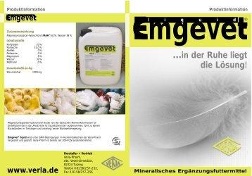 Emgevet Flyer 6/05 2 - VERLA-PHARM Arzneimittel