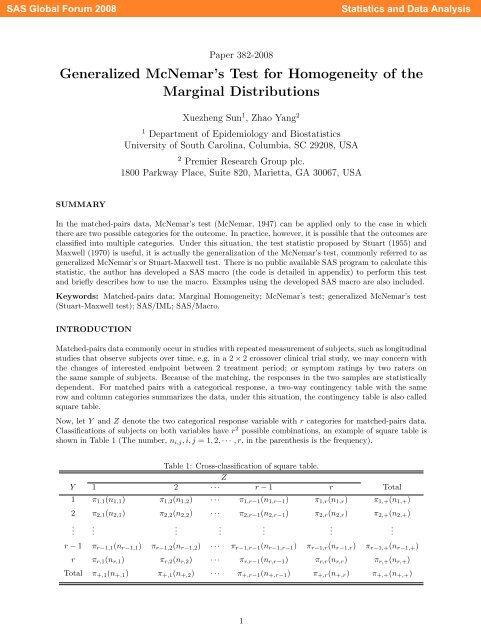 382-2008: Generalized McNemar's Test for Homogeneity of