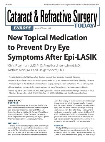 New Topical Medication to Prevent Dry Eye Symptoms After Epi-LASIK
