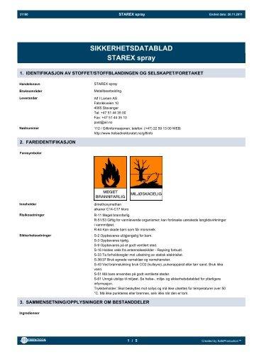 SIKKERHETSDATABLAD STAREX spray - Alf I. Larsen AS