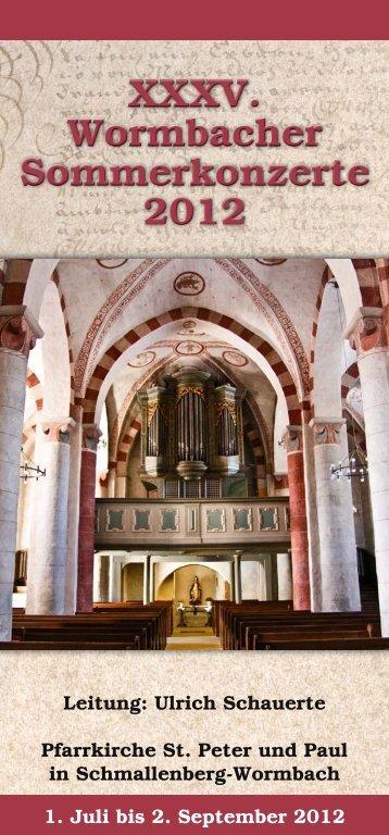 XXXV. Wormbacher Sommerkonzerte 2012 - Pastoralverbund ...