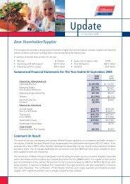 Dear Shareholder/Supplier - Alliance Group Limited