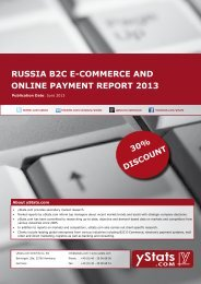 russia b2c e-commerce and online payment report 2013 - yStats.com