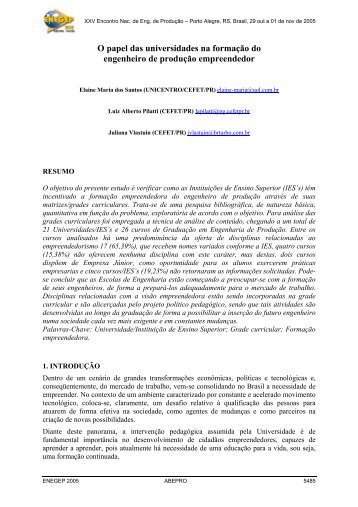 O papel das universidades na formação do engenheiro de ... - UTFPR