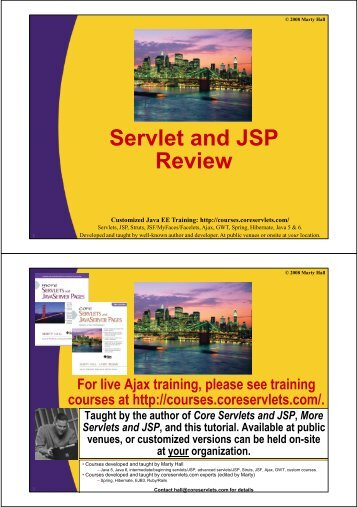 0A-Servlet+JSP-Revie.. - Custom Training Courses - Coreservlets.com