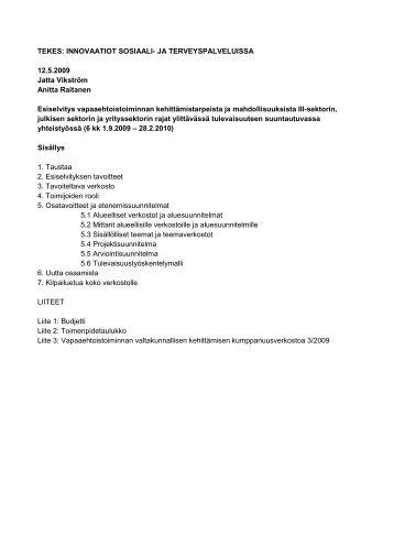 Esiselvitys Tekes hankesuunnitelma 25.9.2009 - Kansalaisareena