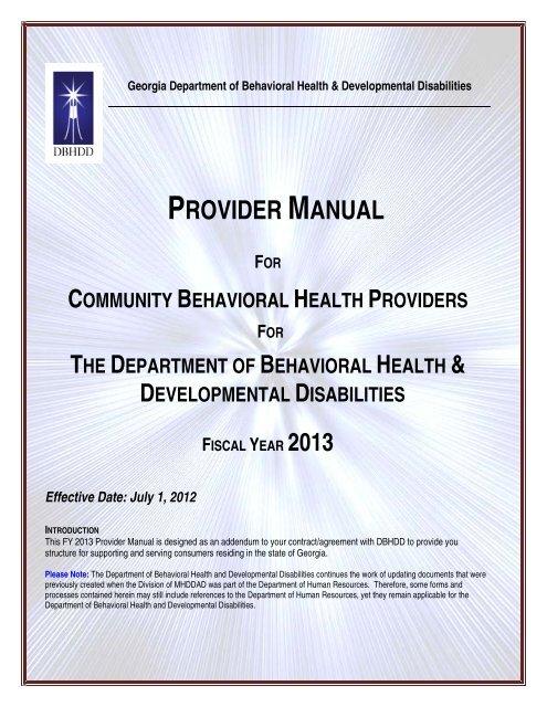 PART I - Department of Behavioral Health and Developmental ...
