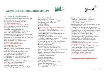 GMUNDNER GESCHENKGUTSCHEIN - Die Gmundner Innenstadt