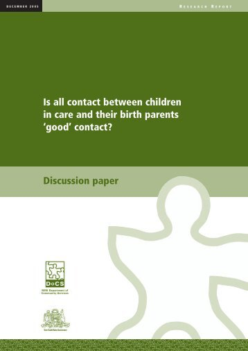 Discussion paper Is all contact between children in care ... - ACWA