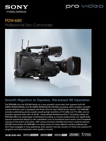 PDW-680 - PRO VIDEO