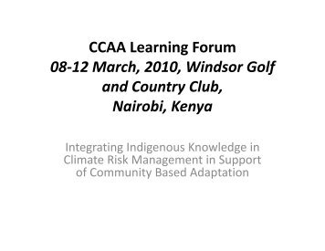 Background Presentation: Kenya - ICPAC - Africa Adapt