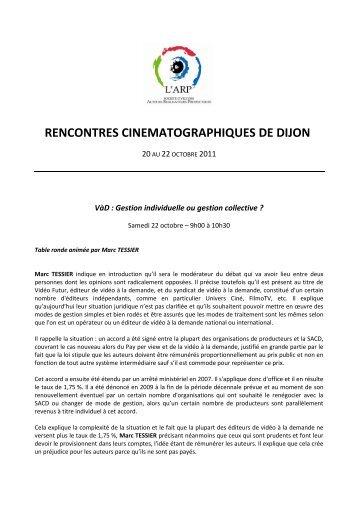 RCD11 – CR du débat Gestion de la VoD 221011 - L'ARP