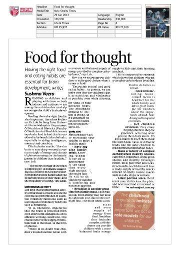 Food for thought - Universiti Putra Malaysia