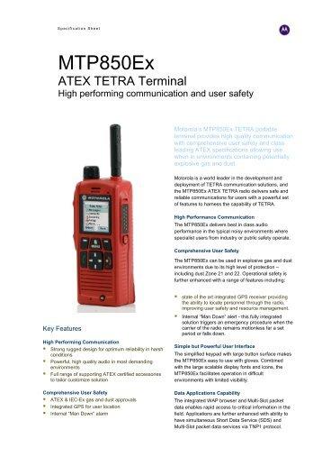 MTP850 Ex ATEX TETRA Terminal - Motorola Solutions