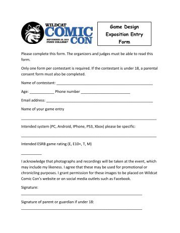 Game Design Exposition Entry Form - Wildcat Comic Con