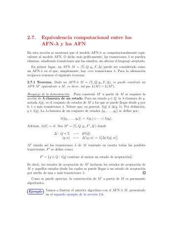 2.7. Equivalencia computacional entre los AFN-λ y los ... - UN Virtual