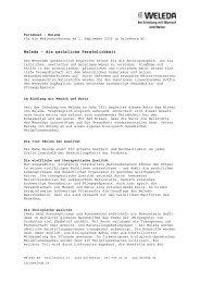 Factsheet Neubaueröffnung - Weleda