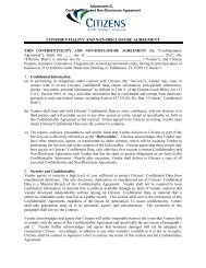 confidentiality and non-disclosure agreement - Citizens Property ...