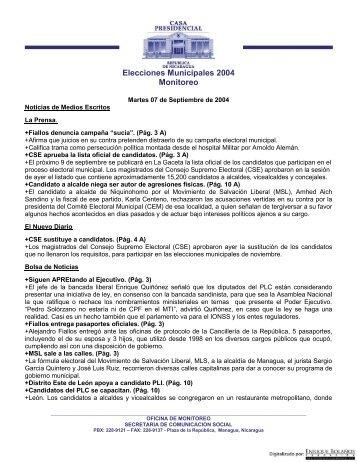 Monitoreo Informativo 7 Septiembre 2004 - Biblioteca Enrique Bolaños