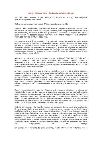 Por José Carlos Teixeira Giorgis: advogado (OAB/RS nº ... - Recivil