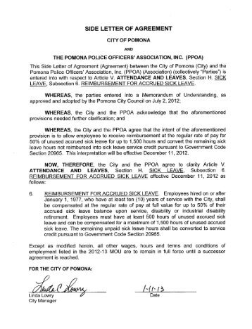 Appendix 1 to sop physical fitness center letter of agreement of agreement city of pomona platinumwayz