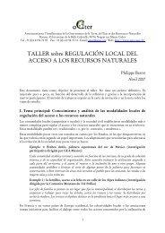 TALLER sobre REGULACIÓN LOCAL DEL ACCESO A LOS ... - Agter