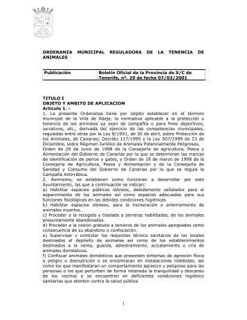 Ordenanza Municipal de Tenencia de Animales - Ayuntamiento de ...
