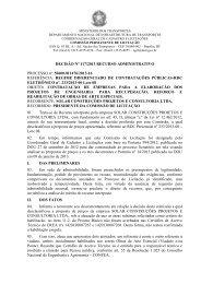 Decisão de Recurso Administrativo - Impetrante: Solar - Motivo - Dnit