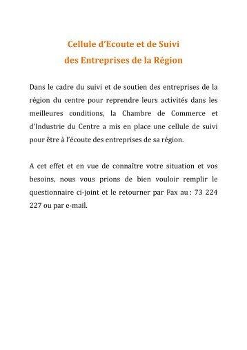 Cellule d'Ecoute et de Suivi des Entreprises de la Région