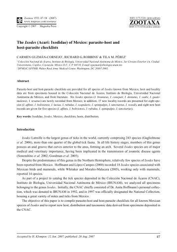 Zootaxa,The Ixodes (Acari: Ixodidae) of Mexico: parasite-host and ...