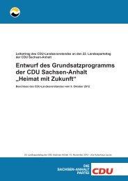 Entwurf des Grundsatzprogramms der CDU Sachsen-Anhalt ...