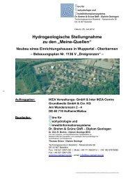 01 Hydrogeologische Stellungnahme zu den ... - Stadt Wuppertal
