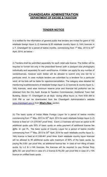 Tender Notice 2013-14 - Chandigarh