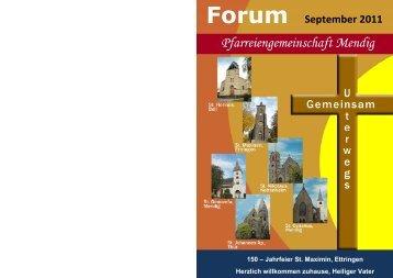 Forum September 2011 - Pfarreiengemeinschaft