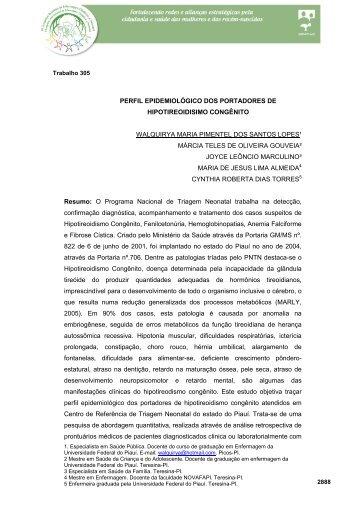 perfil epidemiológico dos portadores de hipotireoidismo congênito
