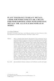 PLANT TOLERANCE TO HEAVY METALS, A RISK FOR ... - Springer