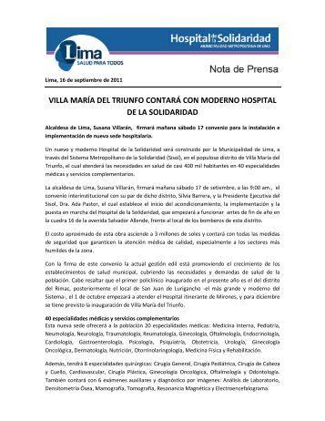 villa maría del triunfo contará con moderno hospital de la solidaridad