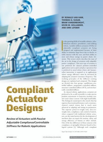 Review of Actuators with Passive Adjustable Compliance ...